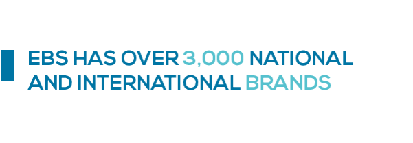 EBS has over 3,000 national and international brands